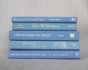 Book Bundle in Shades of Light Blue, Decorative Book Set, Wedding Books