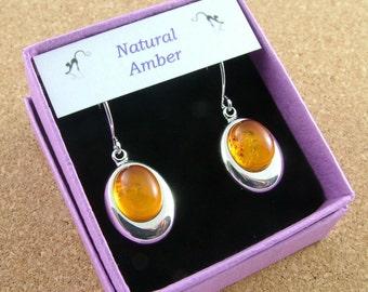 Natural Amber drop earrings