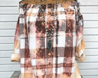 SIZE XXLARGE - Off Shoulder Distressed Flannel - Oxy Flannel - Shoulder Flannel - Distressed Flannel - Bleached Flannel #9
