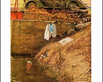 "Norman Rockwell painted Homecoming GI and Swimming Hole Post Covers in 1945. The page is approx. 11.5"" wide and 15"" Tall."