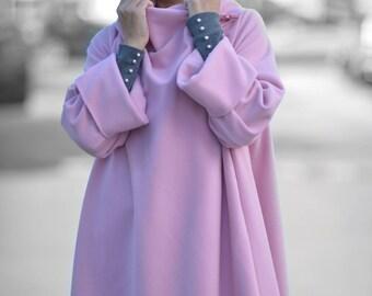 Women Coats, Winter Coat, Cashmere Coat, Women Clothing,Baby Pink Coat, Asymmetric Coat, Fashion Women Coats, Extravagant Coat - CT0001CA
