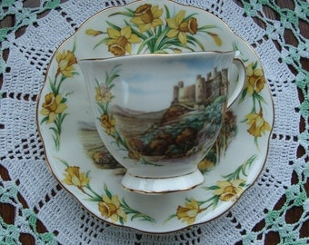 """Royal Albert """"Men Of Harlech"""" Traditional British Songs- Bone China England - Vintage Tea Cup and Saucer - Castle Scene with Yellow Flowers"""