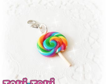 Rainbow Lollipop Charm, Lollipop Cellphone Charm, Miniature Food, Candy Charms, Polymer Clay Candy, Cute Gifts, Circus Birthday Party