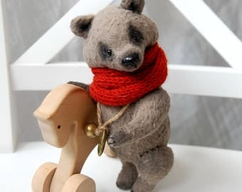 "Collectible teddy bear, Maximilian, miniature teddy bear, 6.29"", 16 cm, artist teddy bear, mohair bear, little bear, stuffed animals, ooak"