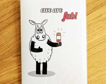 You are fab card, Ewe are fab!, Card for friend, Happy Birthday card, Sheep greeting card,Love card, Celebration card, Punny card,