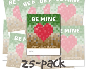 25-PACK Classroom Kids Valentines Day Cards - Be Mine - Video Games School craft pixels