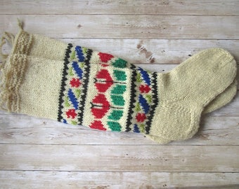 Long Wool Socks, Tribal Wool Socks, Hand Embroidered Socks, Hand knit Socks, Women's Socks, Collectible Socks, Folk Socks, Gift for women