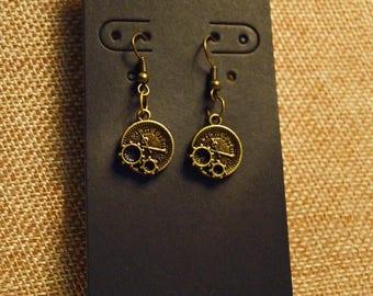 Gear Clock Earrings Steampunk Vintage  Gifts for Her