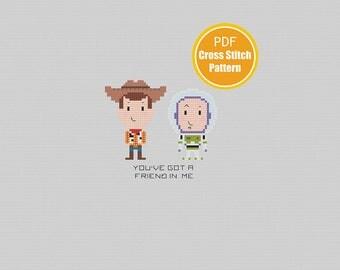 Toy Story Cross Stitch Pattern - PDF Instant Download - Woody Buzz Disney Cross stitch