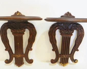 Antique Pair Display Shelves Curio 2 Wall Sconce Wood Shelf Corbels Baroque Bracket Vintage Decor
