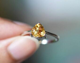 Citrine Ring Citrine Birthstone Ring Citrine Promise Ring Citrine Silver Ring Citrine Engagement Ring November Birthstone Sterling Silver