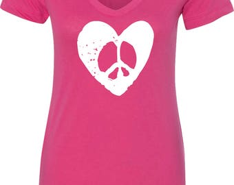 Ladies Hippie Heart Peace V-Neck Shirt HIPPIEHEART-N1540