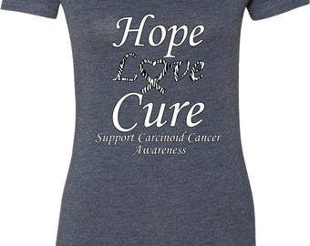 Ladies Hope Love Cure Support Carcinoid Cancer Awareness Scoop Neck Shirt HLC-SCCA-6730