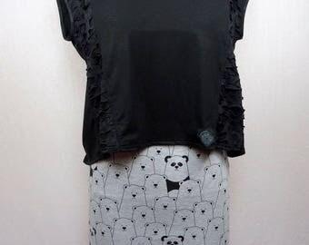 Mini skirt in grey jersey panda and bear pattern