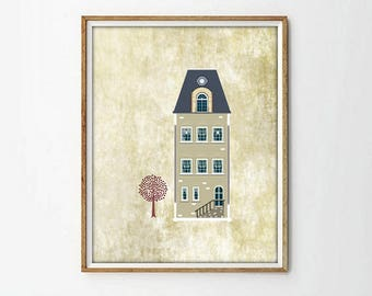 house print, houses decor, wall art print, wall art decor, living room, vintage print, retro print, nursery print, modernist art, art print