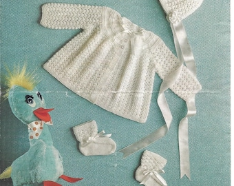 Original vintage knitting pattern for a baby/reborn matinee coat, bonnet and bootees in 4 ply
