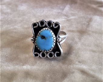 Sterling Silver, Turquoise Ring with 4 Spirals