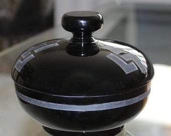 Art Deco Jean Luce Black Lidded Bowl