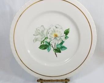 """Vtg Hanover China """"Silver Rose"""" Dinner Plate White Silver Roses Gold Verge Shell Edge"""