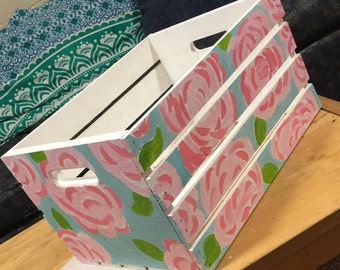 Lilly Pulitzer Inspired Hand Painted Crate