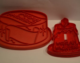 Birthday Cake and Birthday Candle Red Plastic Cookie Cutters