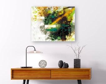 PRINT - high contrast abstract art - green orange black abstract, modern art, home decor for men, man cave wall decor, housewarming for man