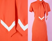 Vintage 60s, Flight Attendant Outfit // Act lll, Orange, Red, 70s Dress, Stewardess Uniform, Womens Size Small