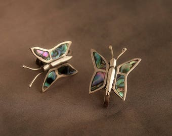 Vintage Mexico Sterling Butterfly Screwback Earrings with Abalone Shell Inlay