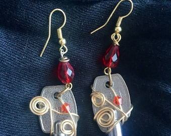 Upcycled File Cabinet Key Earrings
