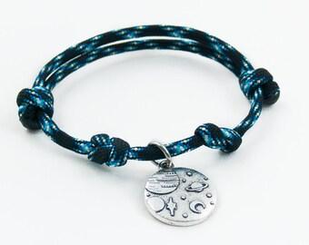 Universe Bracelet, Space Bracelet, Adjustable Bracelet, Space Jewelry, Planet, Outerspace, Science Fiction, Moon Necklace, Paracord Bracelet