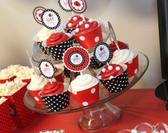 Little Lady Cupcake Toppers/Wrappers Set, Ladybug Cupcake Toppers/Wrappers Set, Ladybug Printables, Little Lady Baby Shower Printables