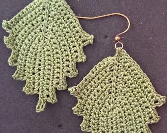 Crochet Leaf Earrings