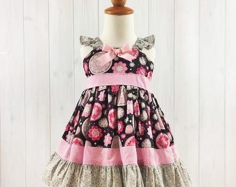 Pink and Black Toddler Dress - Girls Party Dress - Tea Party Dress - Toddler Summer Dress - READY TO SHIP