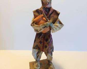Man Paper Mache Mexican Folk Art Doll Man Holding Pot