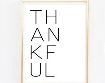 Thankful Wall Art - Thankful Print, Thanksgiving Art, Thanksgiving Decor, Typography Print, Bedroom Art, Living Room Print, Kitchen Print