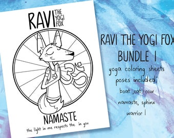 Ravi the Yogi Fox - coloring sheets, bundle I