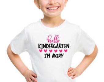 Back To School Tee, Girl's Custom School Shirt, Kindergarten Tee, First Day of School Shirt