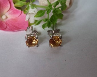 Citrine stud earrings set in 92.5 sterling silver,free shipping