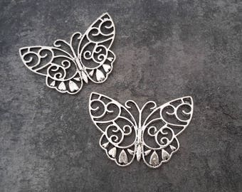 Large openwork butterfly, pendant connector nature Butterfly antique silver metal, 38 x 26 mm