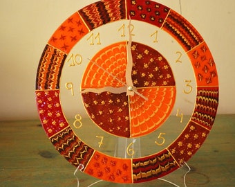 Large Wall Clock, Wall Clock with numbers in orange and brown shades, Round Wall Clock, Modern Wall Clock
