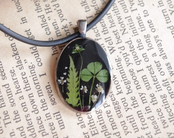 Silver jewelry flowers jewelry clover silver pendant silver necklace botanical jewelry pressed flowers resin jewelry fern terrarium jewelry