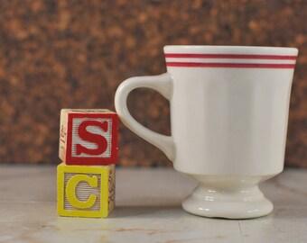 Vintage Syracuse China Pedestal Mug, Coffee Cup, Coffee Mug, Red Stripe Maroon Stripe Double Stripe, Restaurant Ware, Diner Ware 1982 80s