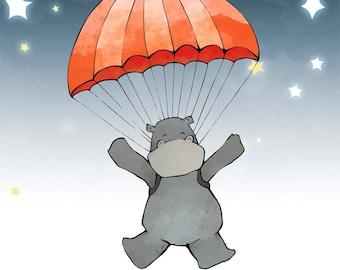 Hippo Parachute Art Print - Safari Animal and Starry Night Sky Wall Art