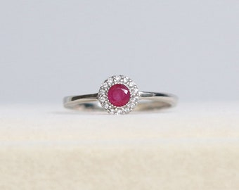 Genuine Ruby Ring Vintage - Ruby Ring, Natural Ruby Ring, Ruby Engagement Ring, Ruby Halo Ring, Ruby Anniversary Ring, July Birthstone Ring