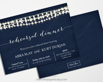 Navy and White Chalkboard and Lights Rehearsal Dinner Invitation | Rehearsal Dinner | Navy & White Invitations Navy Chalkboard String Lights