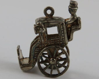 Brougham Carriage With Driver Mechanical Sterling Silver Vintage Charm For Bracelet