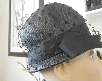 Women's Black Hat with Netting - 50's