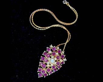 Purple/Amethyst Rhinestone Layered Pendant Lavallière Vintage Necklace - Edwardian Style  - Estate Jewelry