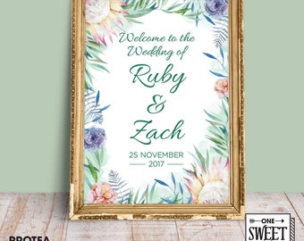 printable welcome to the wedding sign, printable protea gum leaves wedding welcome sign, native Australian wreath, customised wedding sign