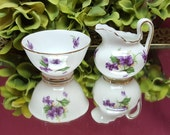 1950s Royal Chelsea Creamer & Sugar Bowl, SMALL Child Size, Collectible Fine Bone China, Purple Violets White Gold, Bridal, Kitchen Dining